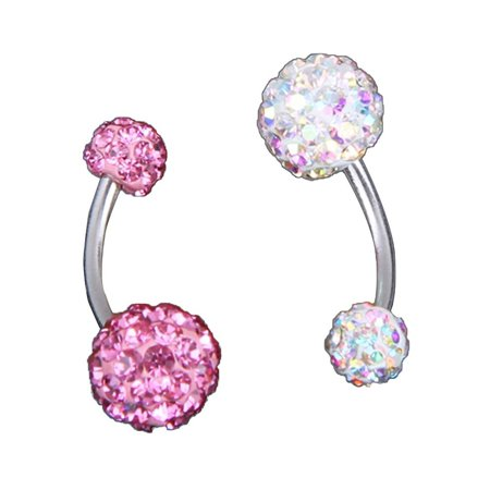 2pcs Stainless Steel Crystal Rhinestone Women Belly Navel Ring Dangle Bar Stud