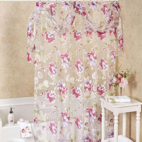 bed bath n more Sheer Floral Shower Curtain With Detachable Scarf Valance and Hooks Set or Separates