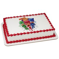 "PJ Masks It's Time To Be A Hero 7.5"" Round Sheet Image Cake Topper Edible Birthday Party"