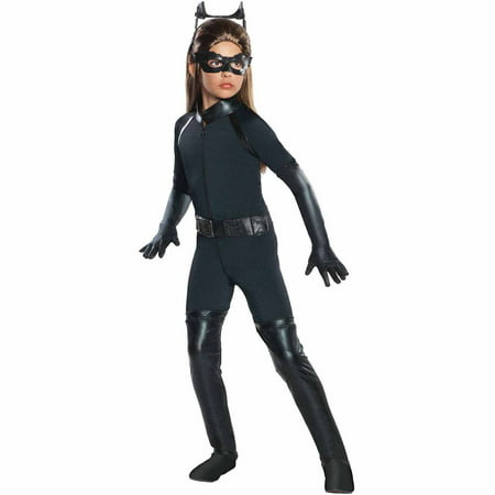 The Dark Knight Rises Deluxe Catwoman Child Halloween Costume](Catwoman Costume With Skirt)