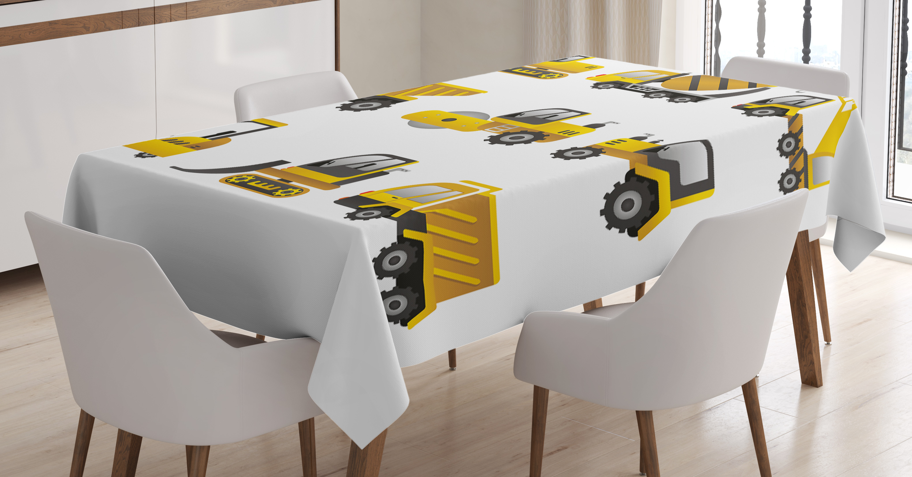 Construction Tablecloth, Big Vehicles Icon Collection Engineering Building  Theme Clip Art Style, Rectangular Table