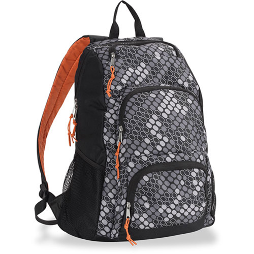 "Triple Pocket Grey and Black Honeycomb 18"" Backpack"