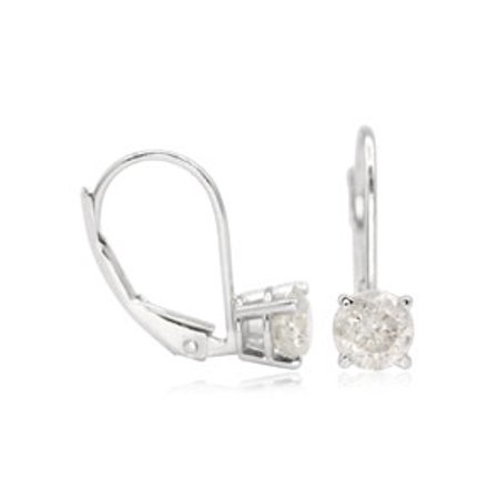CUSTOM LEVERBACK 1 Carat Diamond Stud Earrings In 14 Karat White Gold