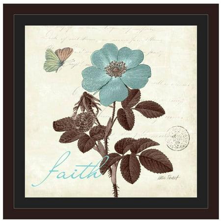 Touch Of Blue II - Faith by Eazl Walnut Framed Premium Gallery Wrap Easel Walnut Frames