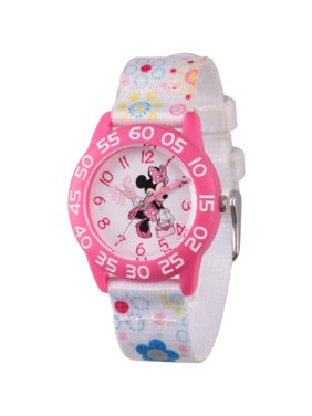 Minnie Mouse Girls' Pink Plastic Time Teacher Watch, White Fabric Strap with Flower Printed