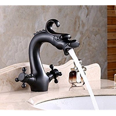 Rozinsanitary Dragon Shape Oil Rubbed Bronze Bathroom Centerest Sink Faucet Dual Handles Mixer (Convert Two Handle Sink Faucet To Single Handle)