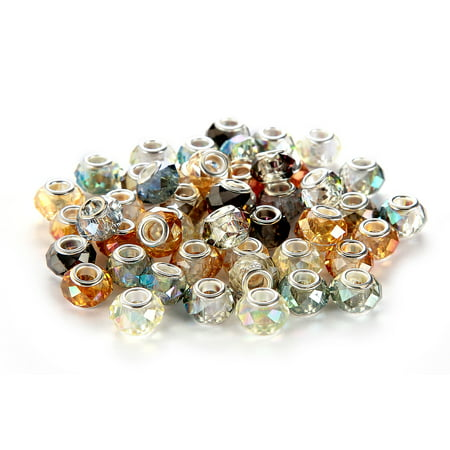 BRCbeads 50Pcs Mix Silver Plate Murano Lampwork European Glass Crystal Beads Spacers