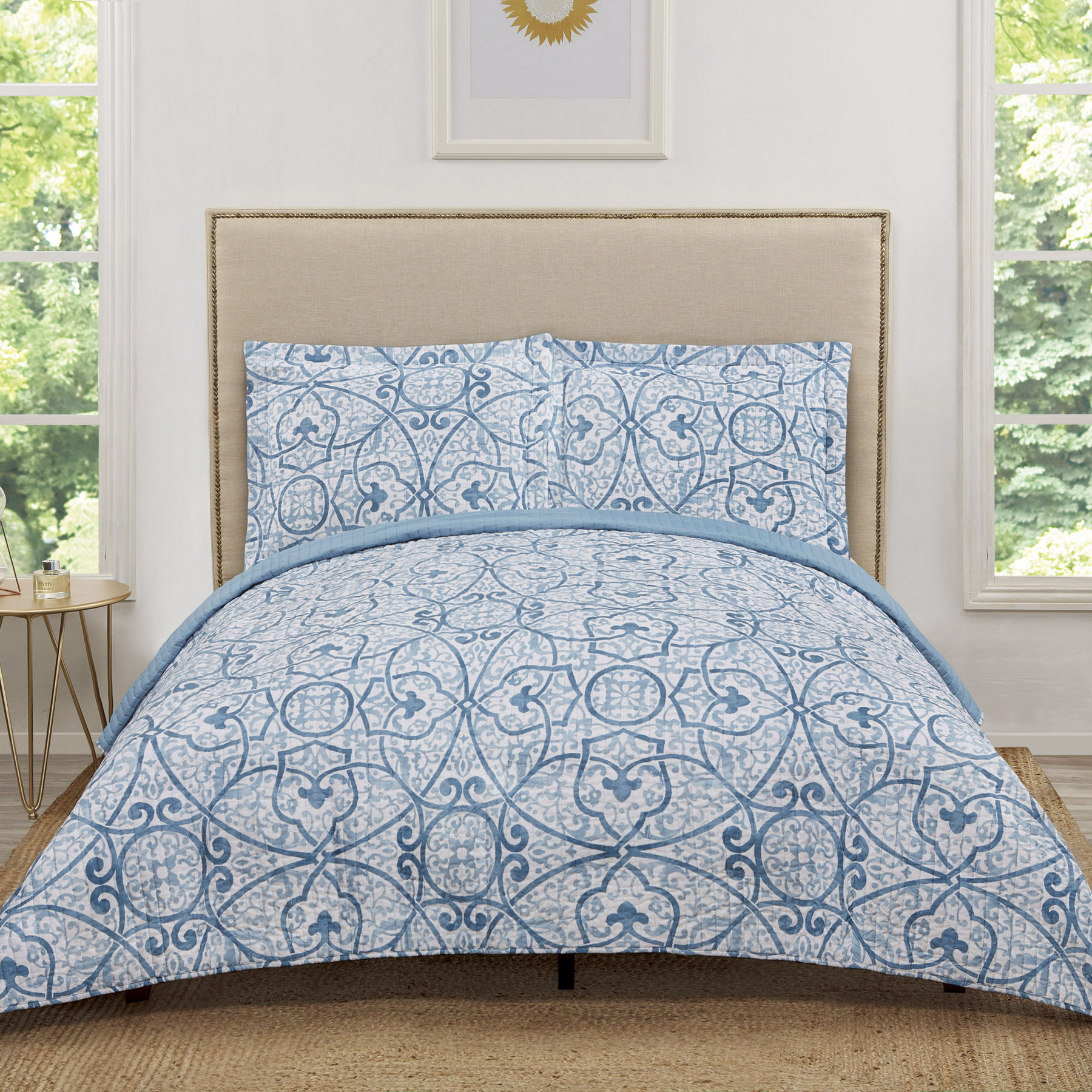 Truly Soft Marcello Blue Twin Extra Long Quilt Set