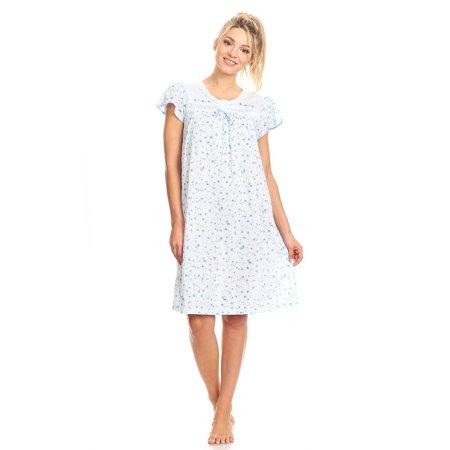 0035 Women Pajamas Night Gown Sleepwear Night Shirt Blue M