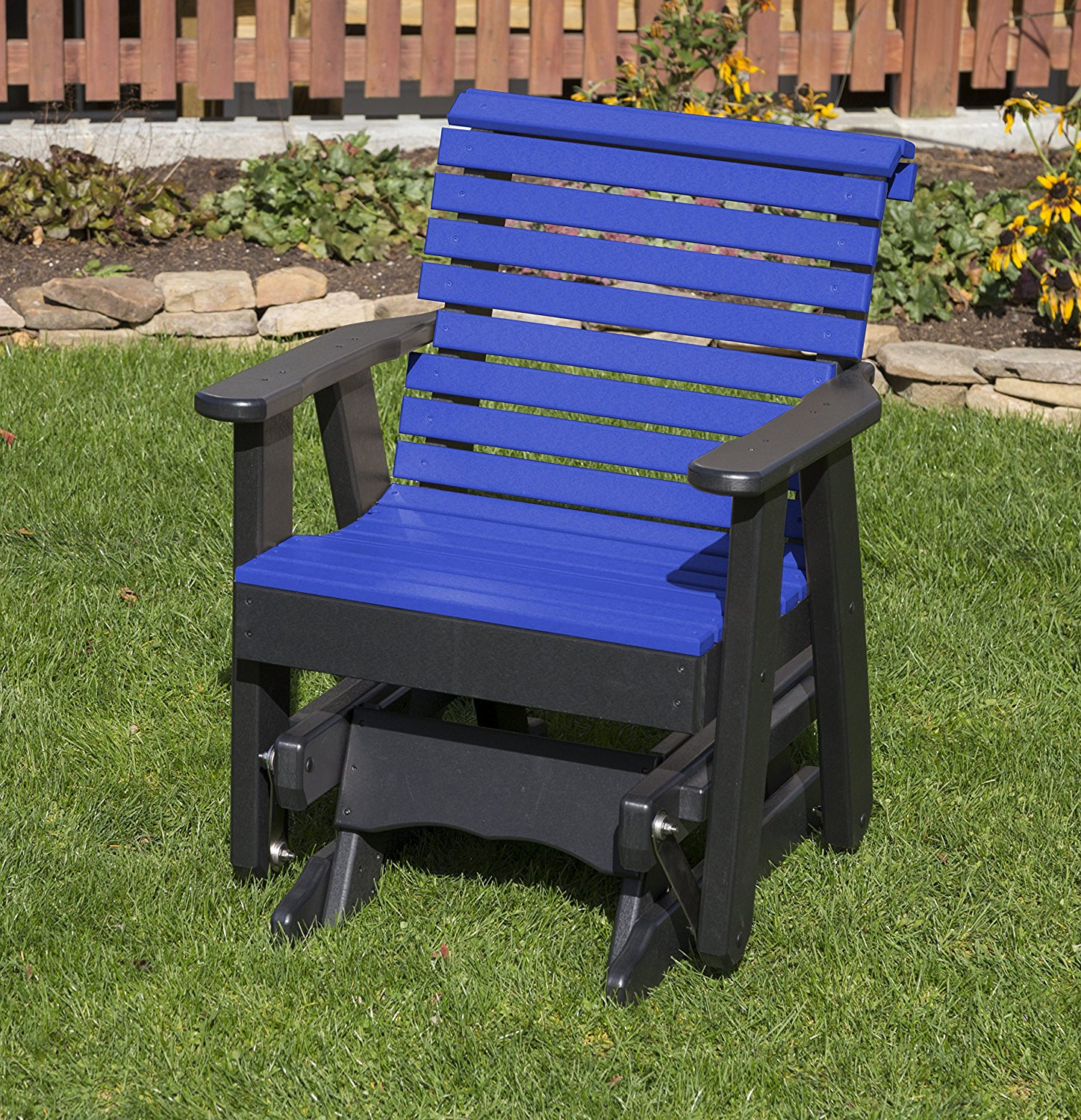 All Weather Furniture Outdoor Patio Garden Lawn Exterior Blue Finish Poly Lumber Roll Back 2 Ft Glider Everlasting Amish Crafted