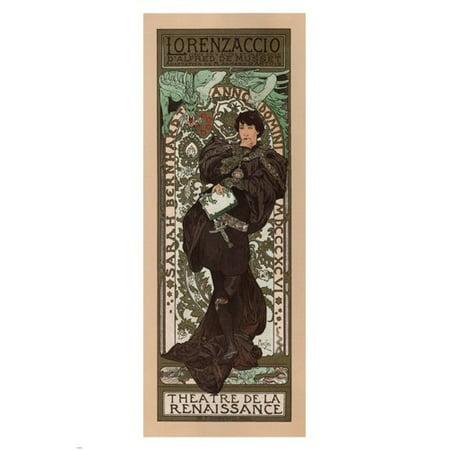Lorenzaccio Play Sarah Bernhardt Vintage Poster France 24X36 A. Mucha 1896