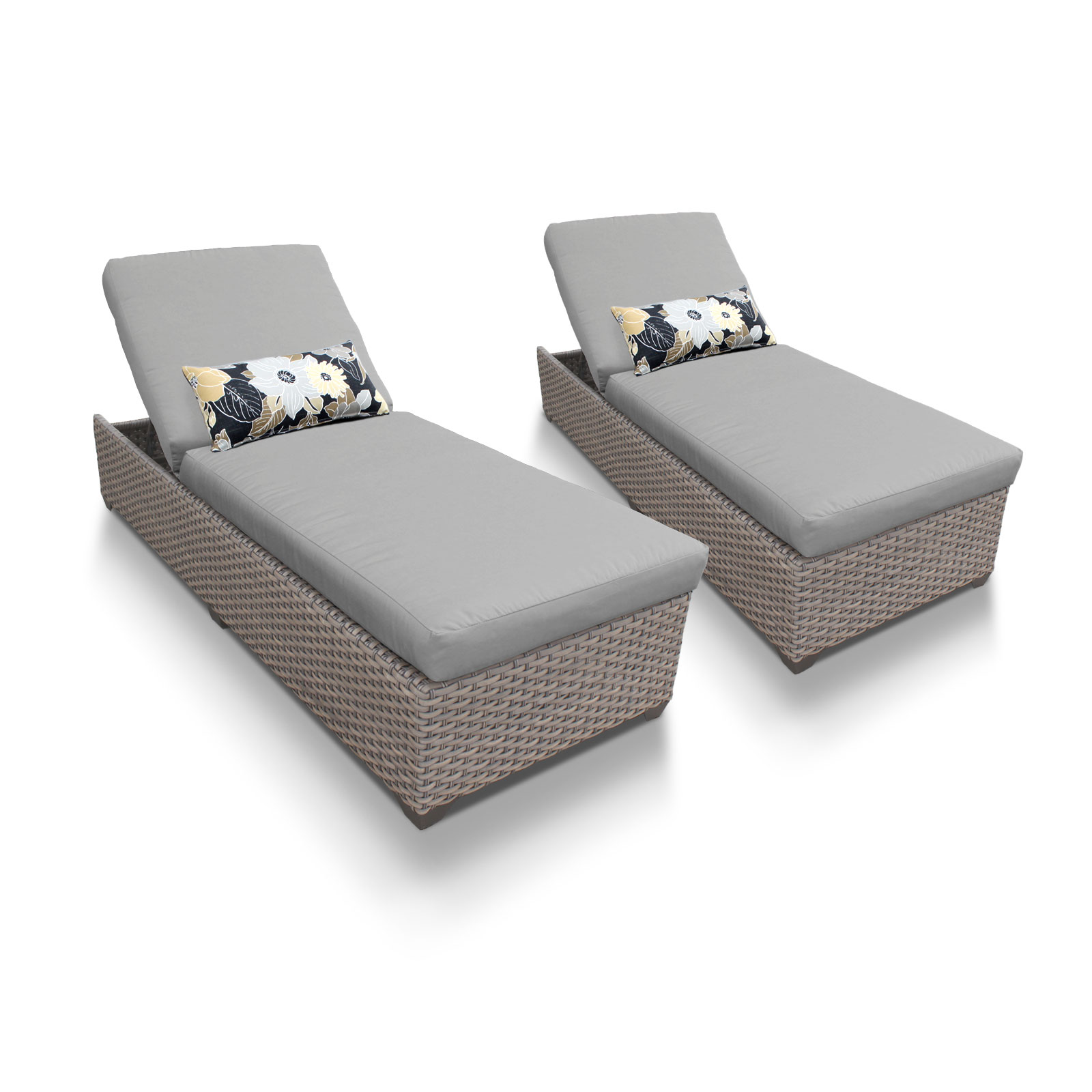 TK Classics Oasis Chaise Set of 2 Outdoor Wicker Patio Fu...