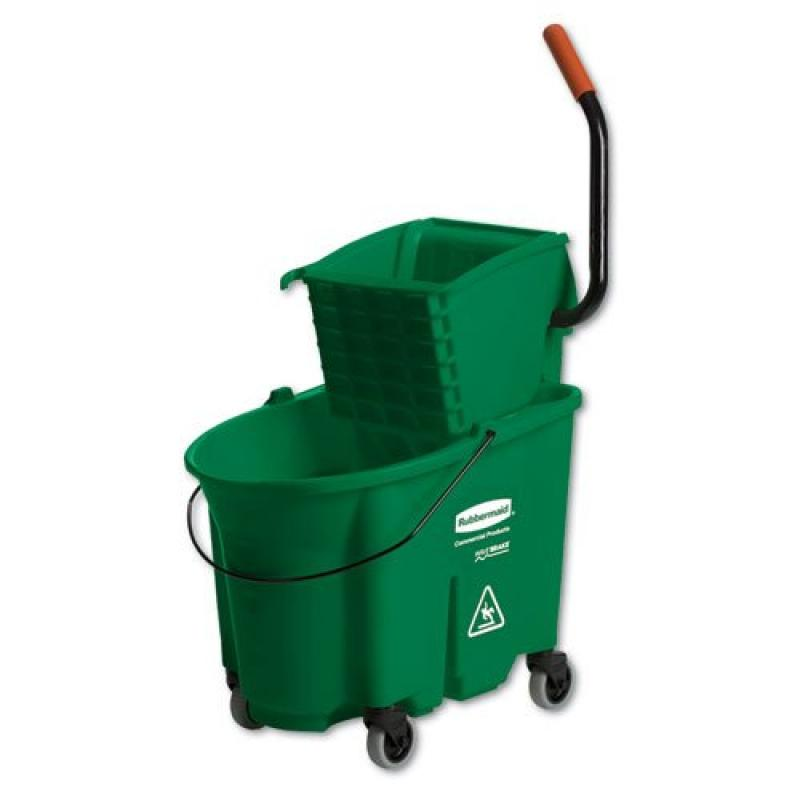 Rubbermaid Commercial WaveBrake Side-Press Wringer/Bucket Combo, 8.75 gal, Green - Includes one each.