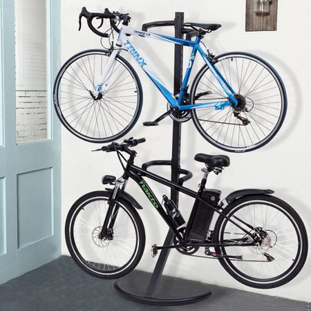 Plastic Bike Stand (Costway Freestanding Gravity Bike Stand Two Bicycles Rack For Storage or Display )