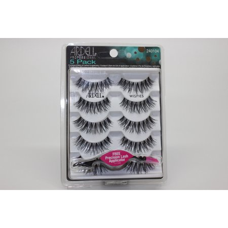 Ardell Professional Eye Lashes- 5 Pack - Wispies (5 pairs) w/ Free Precision Lash - Ardell Lash Applicator