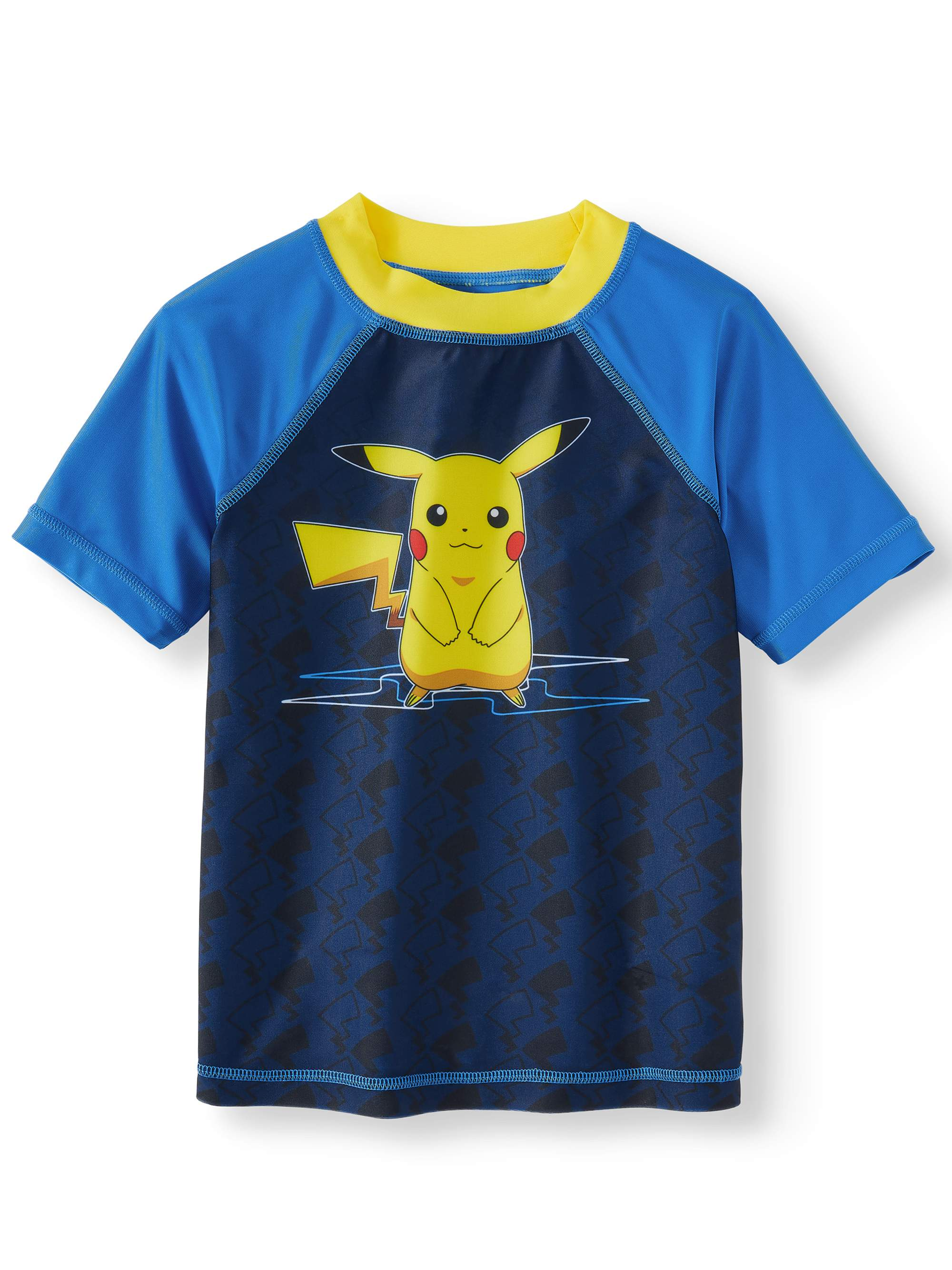 Pokémon Big Boys' Pikachu Rash Guard Swim Shirt- Blue/Yellow