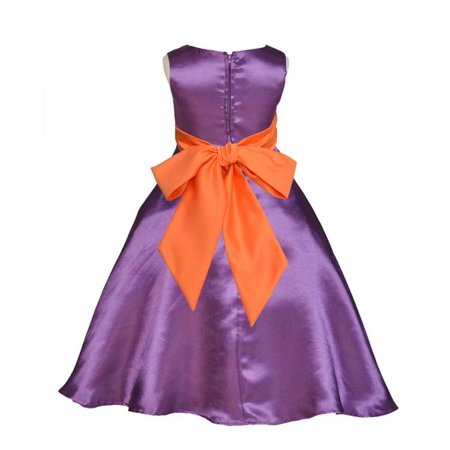 Ekidsbridal Purple Satin A-Line Flower Girl Dresses Pageant Wedding Formal Special Occasion Dresses Recital Ball Gown Holiday Easter Seasonal Birthday Dresses Junior Toddler 821S