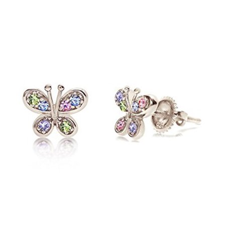 Children's Earrings - Premium 8MM Crystal Butterfly Screwback Kids Baby Girl Earrings With Swarovski Elements By Chanteur ??? 925 Sterling Silver With White Gold Tone Perfect Gift For -