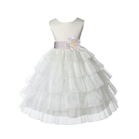 Ekidsbridal Ivory Satin Shimmering Organza Flower Girl Dresses Wedding Pageant Dresses Formal Special Occasion Dresses Holy Communion Baptism Reception Recital Holiday Seasonal Ball Gown 308T (Ivory Flower Girl Dresses)