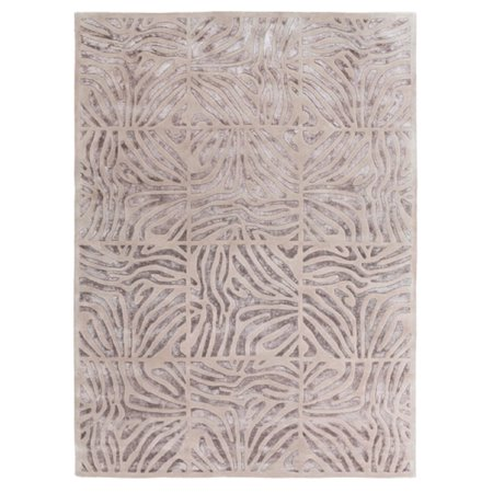 8' x 11' Burchelli Zebra Chain Taupe Wool Area Throw Rug
