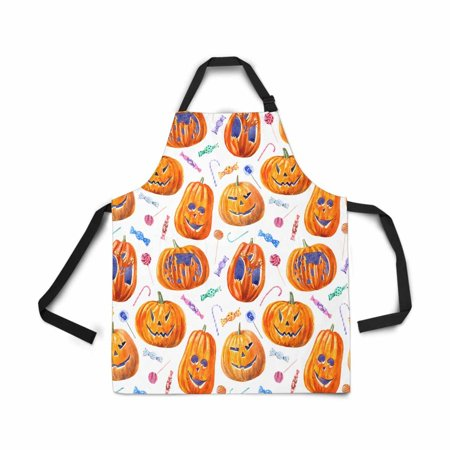 ASHLEIGH Adjustable Bib Apron for Women Men Girls Chef with Pockets Pumpkin Lollipop Candy Watercolor Halloween Novelty Kitchen Apron for Cooking Baking Gardening Pet Grooming Cleaning