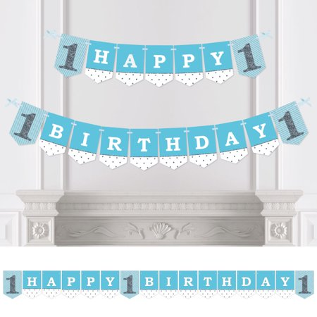 1st Birthday Boy - Fun to be One - Birthday Party Bunting Banner - Blue Party Decorations - Happy Birthday (Pary Decorations)