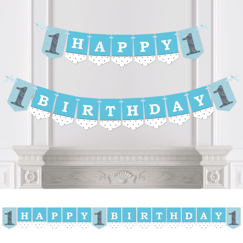 1st Birthday Boy - Fun to be One - First Birthday Party Bunting Banner - Blue Party Decorations - Happy Birthday