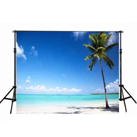 HelloDecor Polyster 7x5ft Photography Beach Backdrop Photo Studio Photographic Background for Children Hawaii Coconut Tree Backdrops](Beach Photo Backdrop)
