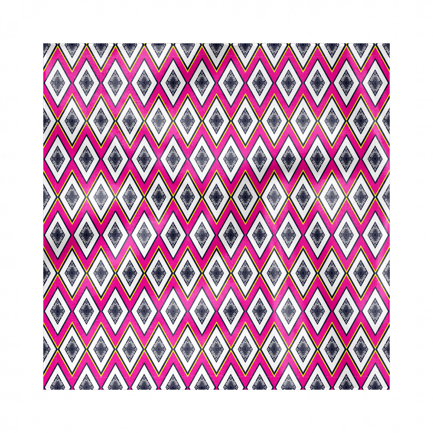Geometric Napkins Set Of 4, Rhombus Pattern With Motifs