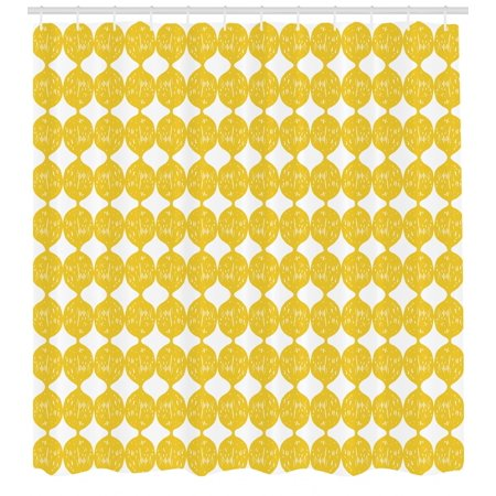 Lemons Shower Curtain String Out Interconnected Hand Drawn Lemon Figures Forming Ogee Pattern Fabric
