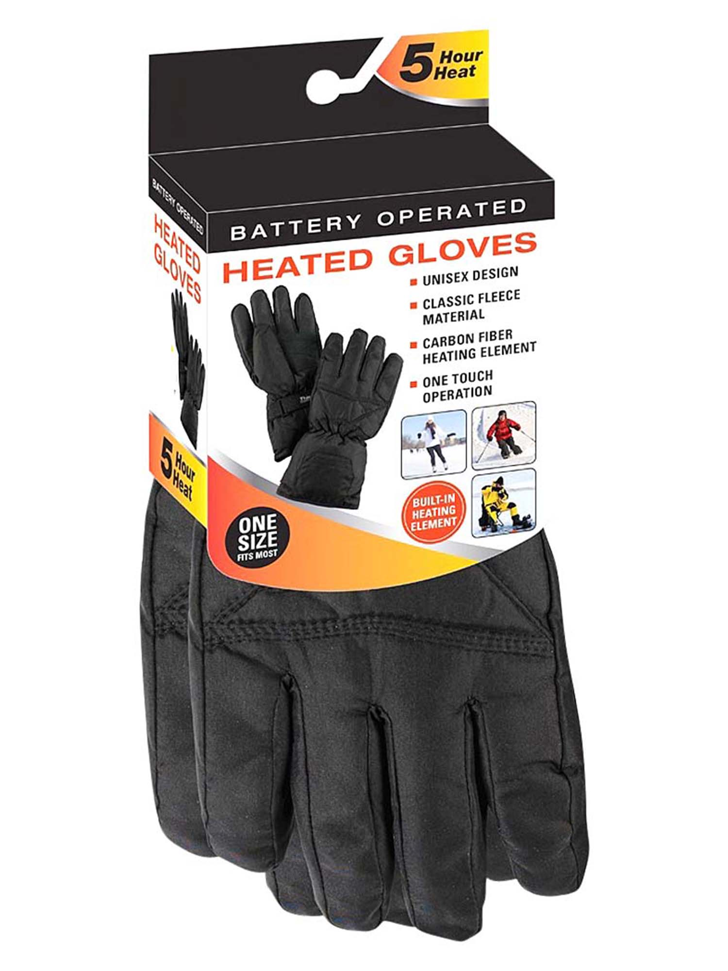 Mens Black Thermal Fleece Battery Heated Winter Gloves by Luxury Divas