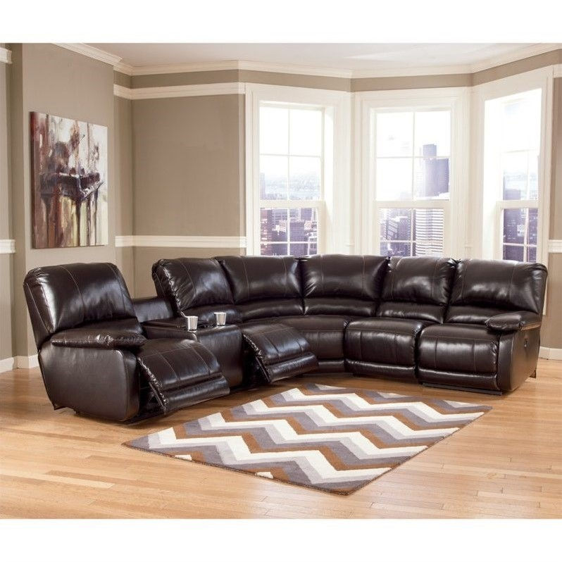 Ashley Furniture Capote Leather Power Reclining Sectional in Brown  sc 1 st  Walmart & Ashley Furniture Capote Leather Power Reclining Sectional in Brown ... islam-shia.org