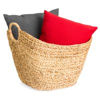Best Choice Products Portable Large Hand Woven Wicker Braided Storage Laundry Basket Organizer w/ Handles - Natural