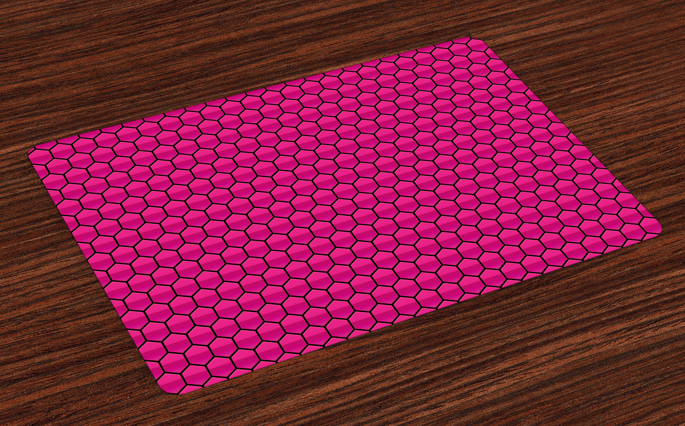 hot pink kitchen accessories zeal mat | Hot Pink Placemats Set of 4 Honeycomb Pattern Nature ...
