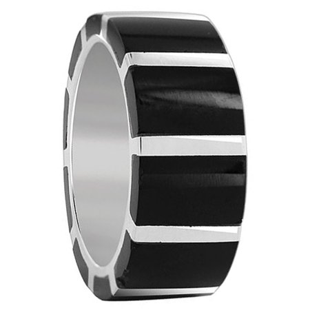 Black Onyx Gem (Gem Avenue 925 Sterling Silver Black Onyx Strip Design Gemstone Band,9mm )