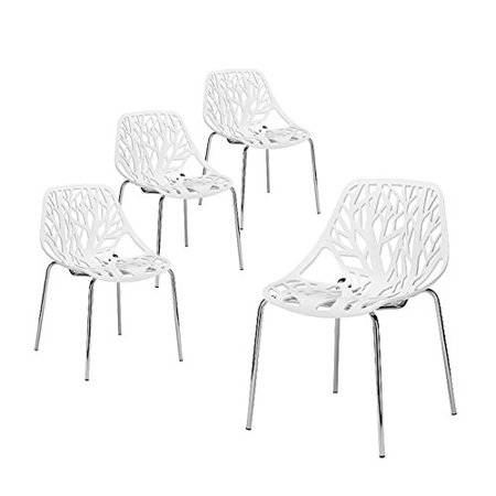 Zimtown Modern Dining Chairs Set Of 4 By White Chairs