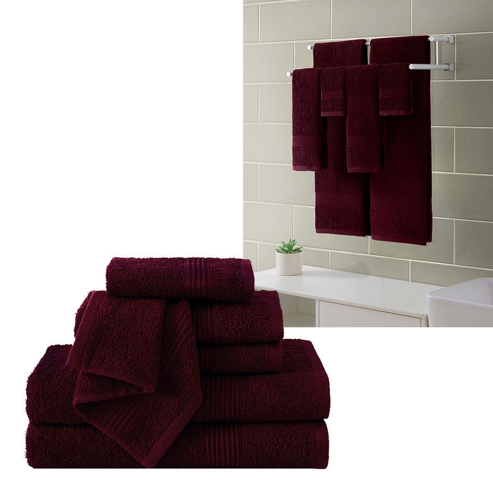 "Ribbed Luxury Bath Towel 6 Piece Set 100% Cotton, Burgundy Red (2 Bath Towels 54"" x 27"", 2 Hand Towels 28"" x 16"" and 2 Wash Cloths 13"" x 13"")"