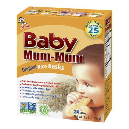 (4 Pack) Hot Kid Baby Mum-Mum Original Rice Rusks, 24 count, 1.76