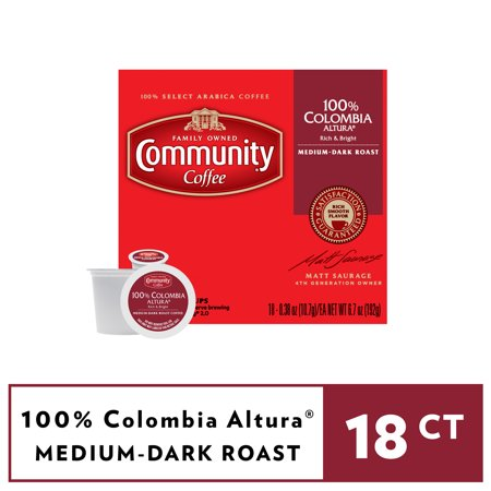 Community® Coffee 100% Colombia Altura® Medium-Dark Roast Coffee Single-Serve Cups 18 ct Box Compatible with Keurig 2.0 K-Cup Brewers