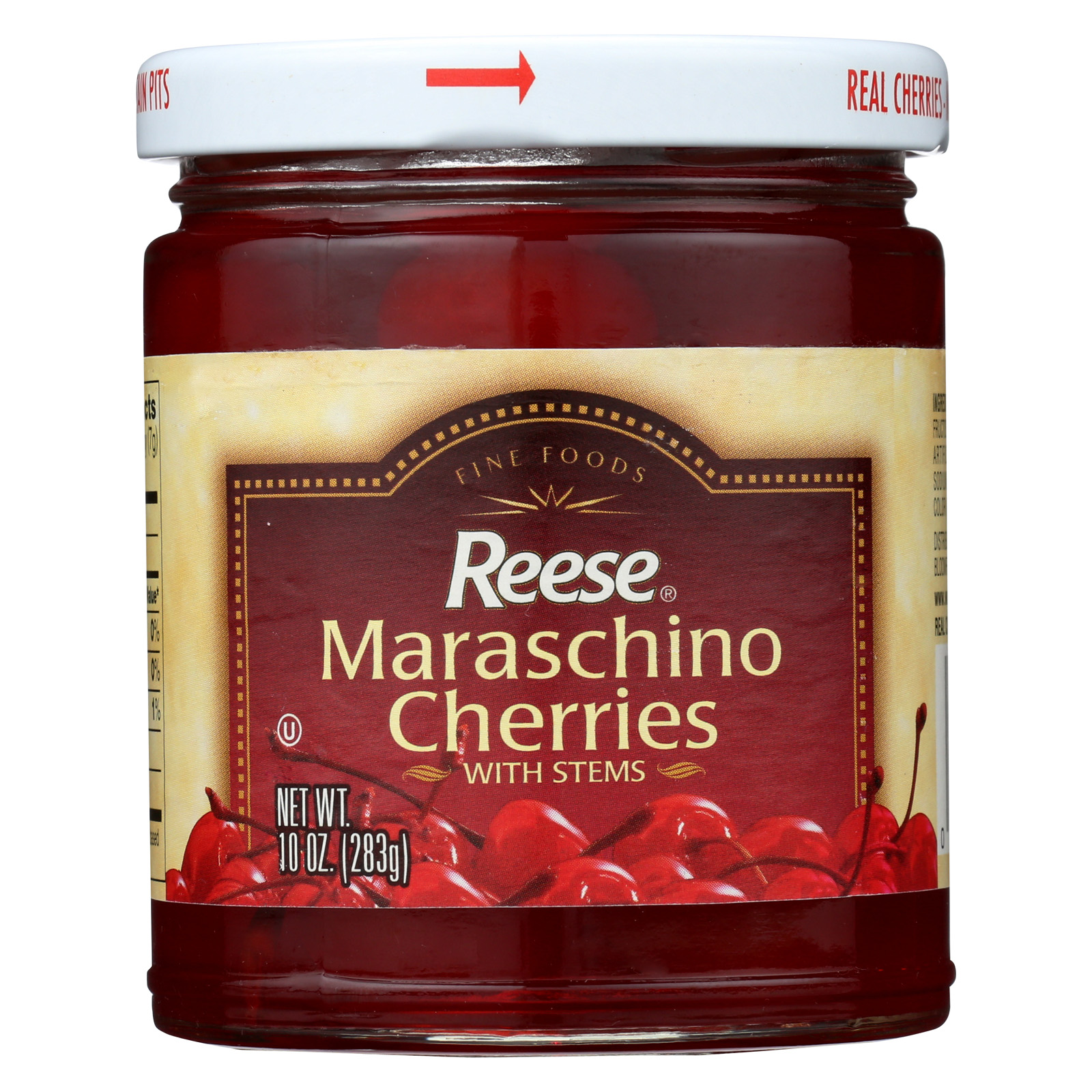 Reese Red Maraschino Cherries with Stems Case of 12 10 oz. by