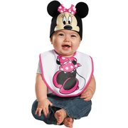 Pink Minnie Mouse Bib and Hat