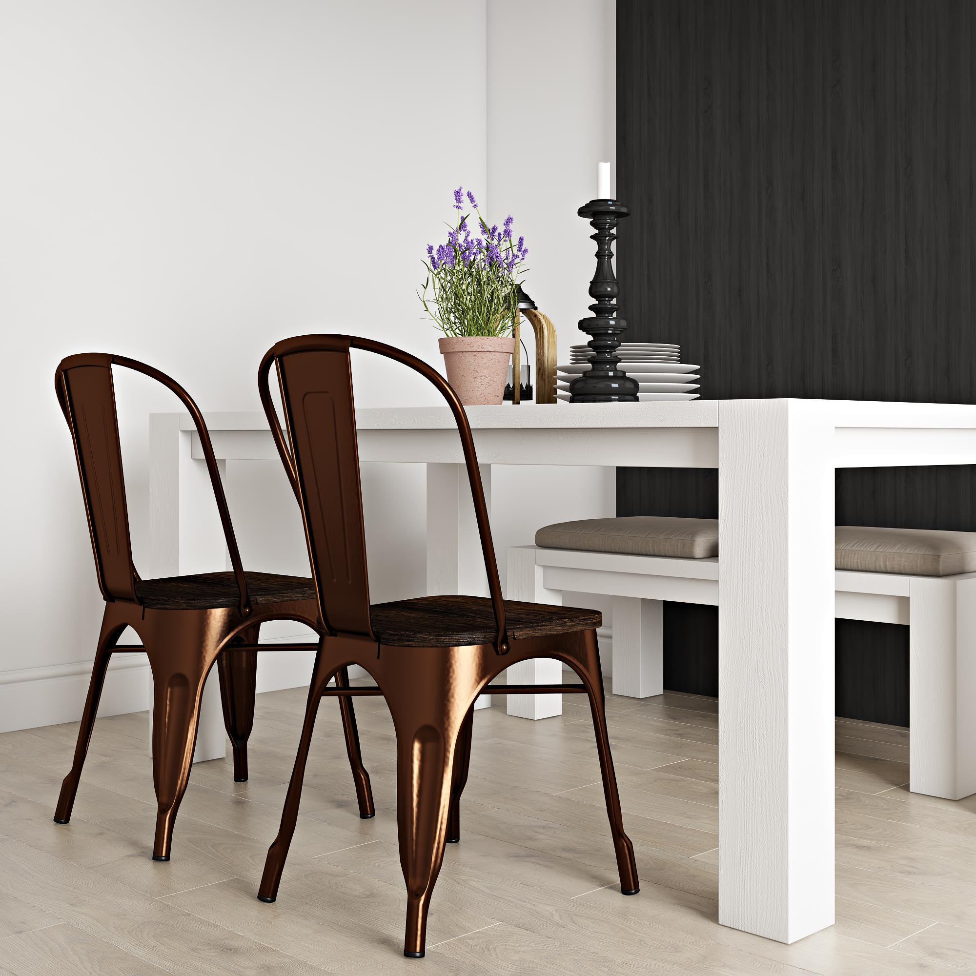 RealRooms Fanya Metal Dining Chair with wood seat, Set of 2, Multiple Colors
