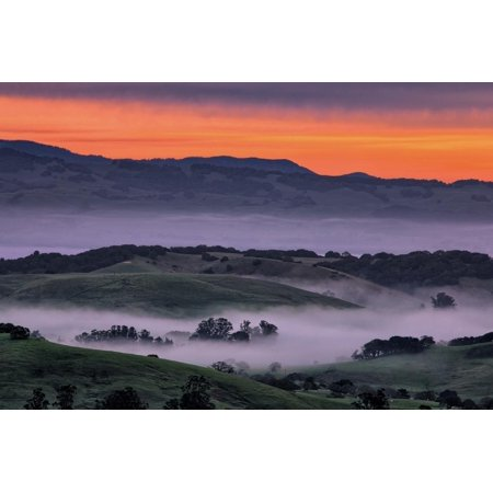 Sunrise Fire over Petaluma Hills, Sonoma County, Bay Area Print Wall Art By Vincent James - Halloween Bay Area 2017