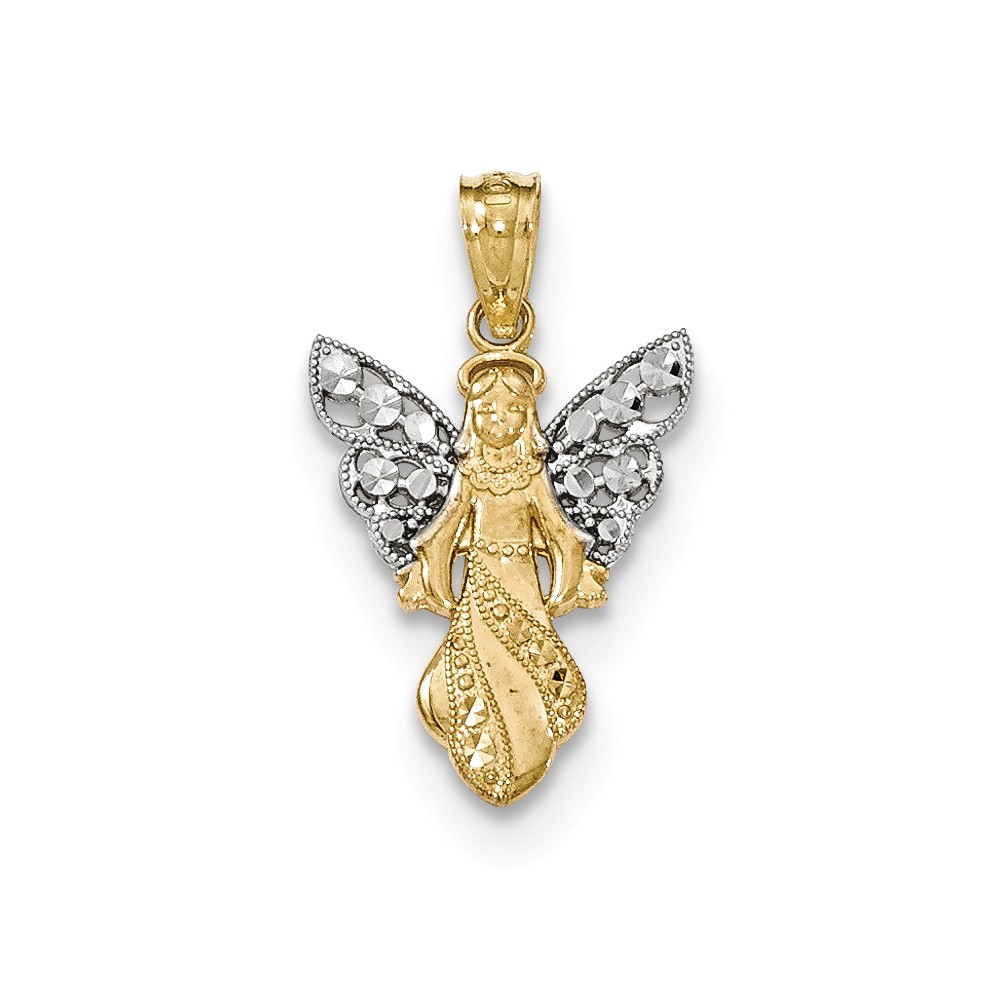 14k Yellow Gold w/Rhodium Polished & Textured Angel Pendant