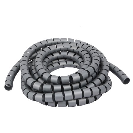 Unique Bargains Flexible Spiral Tube Cable Wire Wrap Gray 15mm Dia x 3 Meter Long with Clip - image 4 of 4