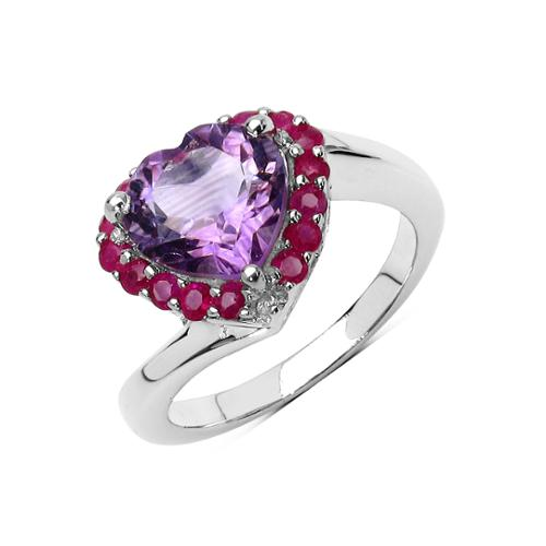 Olivia Leone 2.76 Carat Genuine Amethyst and Ruby .925 Sterling Silver Ring Size-8, Purple