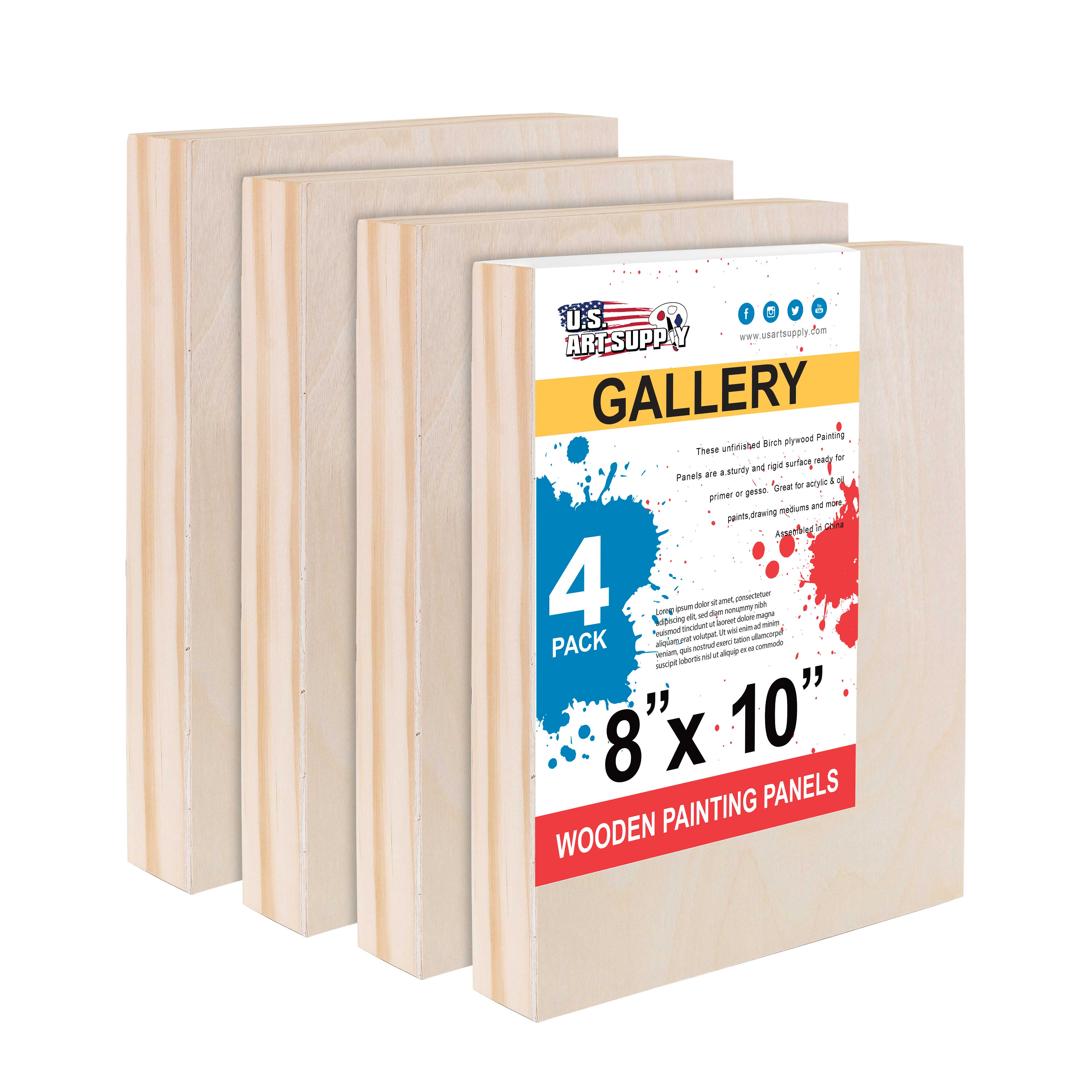 Size S Healifty 2Pcs Wooden Painting Board Unfinished Wood Canvas Cradled Panel Boards for Painting Drawing and Arts Crafts