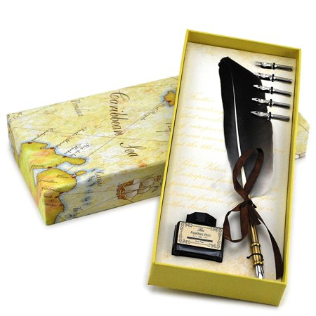 Quill Pen, luxury goose feather quill pen and ink set (Copper)
