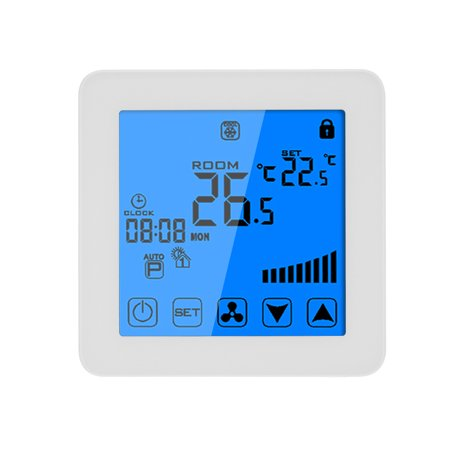 200-230V Programmable Thermostat Air Conditioner 2-pipe 4-pipe Temperature Controller LCD Touch Screen Air Heating Condition Temp Control Underfloor 3A 7-Day 4-Period Programming Backlight