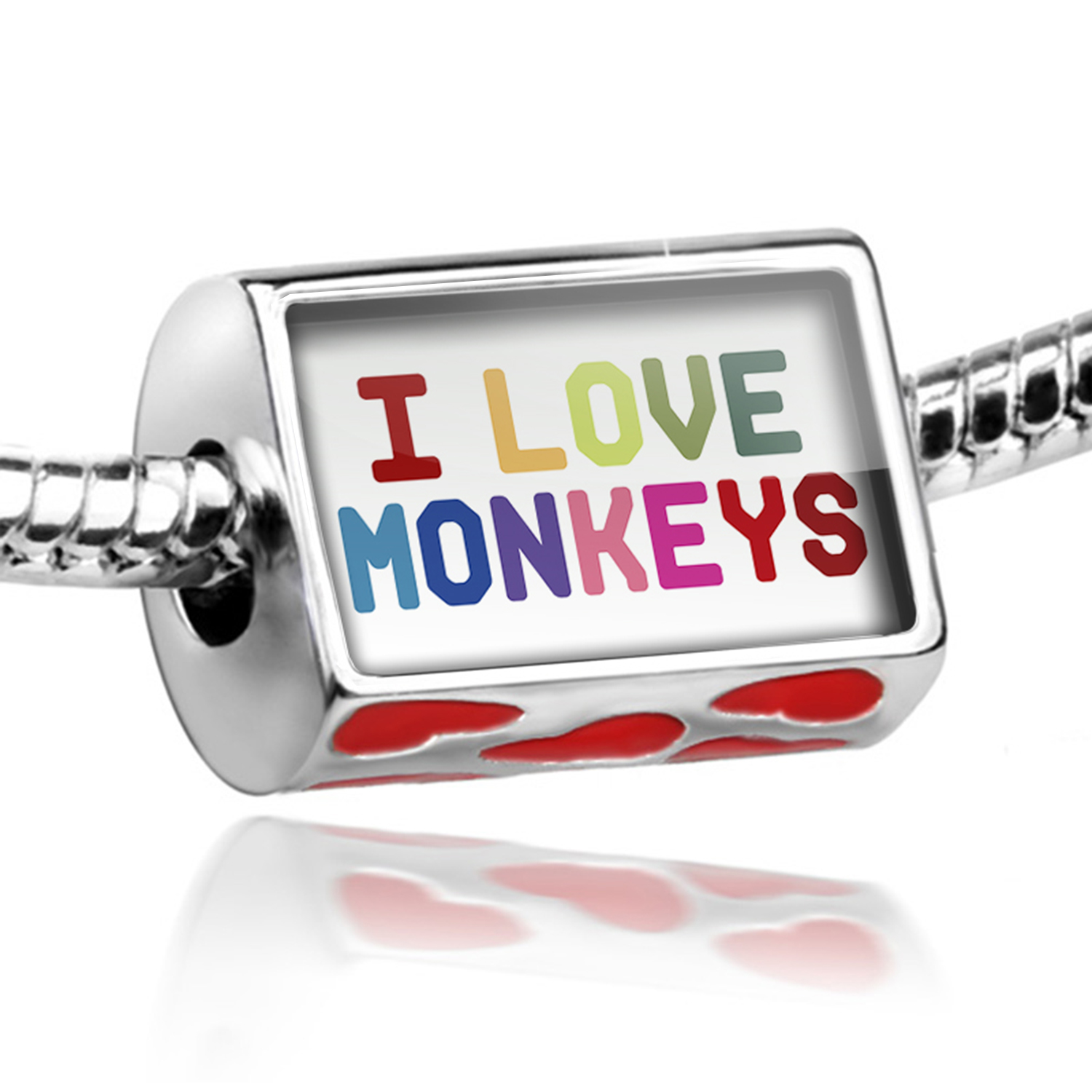 Bead I Love Monkeys,Colorful Charm Fits All European Bracelets